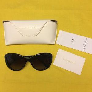 Valentino Black Embossed Cat-Eye Sunglasses